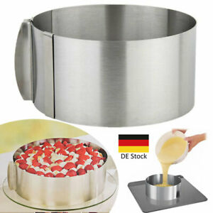 Tortenring Verstellbar Kuchenring Edelstahl Mousse Backrahmen Backform 16-30cm