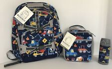 Pottery Barn Kids Construction Large Backpack Lunch Box Water Bottle Set NEW