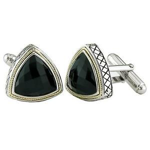 Andrea Candela 18kt Gold & Sterling Silver Onyx Triangular Cufflinks ACM05-ON