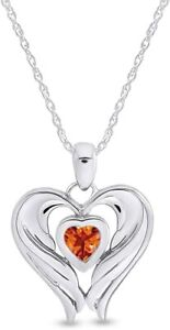 Simulated Citrine Angel Wing Heart Pendant Necklace In 14k Gold Over