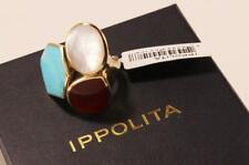 IPPOLITA RIVIERA SKY 3-STONE 18K YELLOW GOLD MOP TURQUOISE CARNELIAN BOLD RING