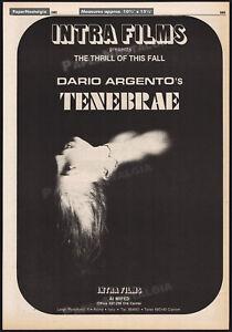 TENEBRE__Original 1982 Trade AD horror promo / poster__DARIO ARGENTO__Tenebrae