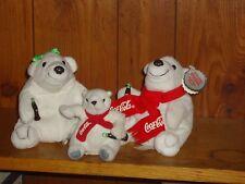 "Lot of 3 Plush Coca Cola White Polar Bears Family  6"" 6"" & 4"" Dad Mom & Baby"