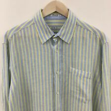 Mens Large BUGATCHI UOMO 100% Linen Striped Shirt Shaped Fit -SUPER- 40c