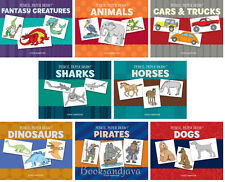 Pencil Paper Draw Dinosaurs,Dogs,Horses,Pirates,Cars,Sharks+ (pb) 8 pk New w/rm*