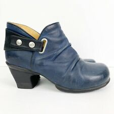 John Fluevog Holly Snapped Ankle Bootie Blue Leather Size 9.5
