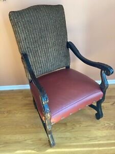 Rustic Southwestern style Armchair-coordinating leather, wood & fabric