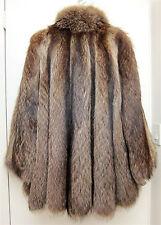 """MINT M L Raccoon Fur Swing Stroller Coat Jacket Silver 82"""" Sweep Cape Back Fox-y"""