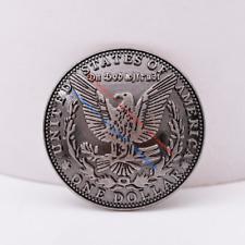 """10pc 1-1/2 """" Antique Silver Morgan Head Eagle Dollar Screwback Replica Concho"""