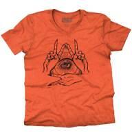 Illuminati Shirt   Eye of Providence All Seeing Mystical Hand V-Neck T Shirt