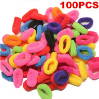 100Pcs Colorful Elastic Rope Ring Hairband Women Girls Hair Band Ponytail Holder