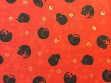 RPG523F Asian Japanese Curled Kitty Cat Kitten Black Neko Cotton Quilt Fabric