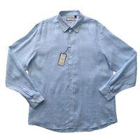 PINK Men's Linen Wallace Blue Check Pattern Long Sleeve Shirt Size XXL NEW