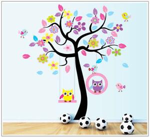 Wall Sticker Cartoon Monkey Animal Bird Owl Tree Decal Art Children's Bedroom