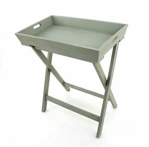 """15.5"""" x 26"""" x 30"""" Gray/Light Blue, Wooden - Serving Table"""