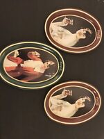3 Vintage Small Oval Coca Cola Lady Tin Tip Tray Advertising Change Tray