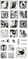 Butterflies & Birds Inchies Clear Acrylic Stamp Set by Inkadinkado 98771 NEW!