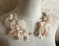2 pcs Pearl Beaded Applique Light Pink Chiffon Leaves Corsage Collar Patch