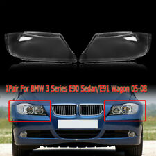 2pcs Front Headlight Headlamp Plastic Clear Lens Cover For BMW E90/E91 2004-2007