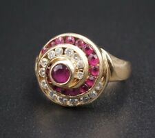Vintage 14k Yellow Gold .9ct Natural Diamond Ruby Swirl Dome Ring Sz 5.75 RG1515