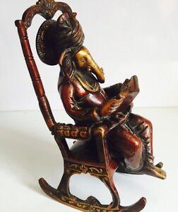 Ganesha Ganesh Statue Rocking Chair Reading Ramayna Hindu God Brass