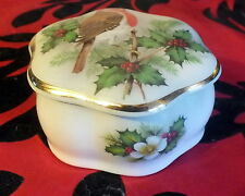 Pallisy Royal Worcester Trinket box Robin and Holly Christmas Stocking filler