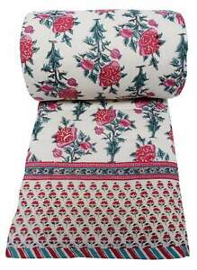 Wood block printed, cotton, twin sized quilt: 70 x 108 - Poppy - 100% cotton, re