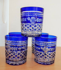 SIX BOHEMIAN HAND CUT COBALT BLUE TO CLEAR WHISKEY GLASSES 8.5cm TALL