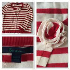 Boden Corsage Long Sleeve Cardigan 14 Red Stripe Soft Cotton Knit Summer Retro