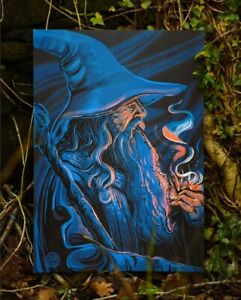 Gandalf and His Pipe Poster A3 Silk LOTR Gift Lord of The Rings Art Illustration