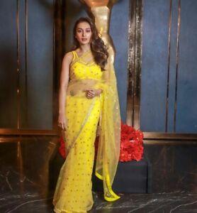 Yellow Net Sequins Saree Bollywood Replica Party Indian Designer Wedding Sari