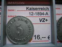 J 12   5 Pfennig  1894 A in VZ+