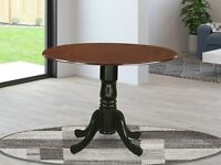 """42"""" Round Dublin drop-leaf pedestal kitchen table in mahogany and black finish"""