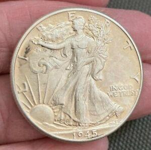 High Grade, Vintage1945 P, Philadelphia Mint Walking Liberty Half Dollar!