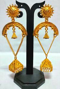 22K Gold Plated Indian Bollywood 7 CM Long Wedding Fashion Earrings Set ETFNS5