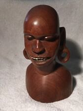 Vintage en bois sculpté africain ethnique buste d'homme avec boucle ARS & Dents