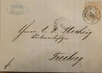 J) 1864 SAJONIA, NEW PUNCHES, SAXONY, CIRCULATED COVER, FROM SAJONIA TO FRIBERG