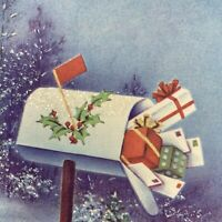 Vintage Mid Century Christmas Greeting Card Glitter Blue Snow Mailbox With Gifts