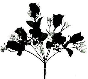 7 Black Rose Buds Bouquet Silk Flowers Artificial Fake Halloween Gothic Wedding