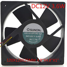 "SUNON Cooling Fan KD1212PTB2-6A 12V 3.6W 12CM 12025 120x120x25mm 4.8""x4.8""x1"""