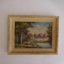 Peinture huile oil painting landscape paysage signature fait main XXe PN France