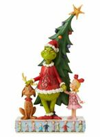 """Jim Shore 2020 Dr. Seuss The Grinch, Max, and Cindy by Tree Statue 11"""" Figurine"""