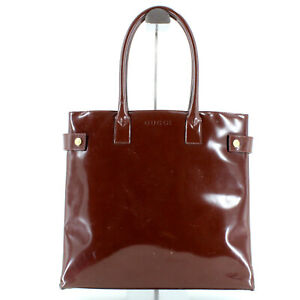 Gucci Patent Leather Top Handle Tote Bag in Brown - Made in Italy