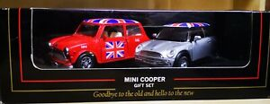 Welly Mini Cooper Gift Set - The Old & New. Red with Union Jacks, Silver & Black