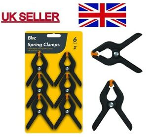 """Pack of 6 x 3"""" HARD GRIP STRONG BLACK SPRING CLAMPS WOODWORK/CRAFT/MARKET STALLS"""