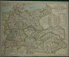 1883 LETTS MAP ~ GERMANY & AUSTRIA BOHEMIA MORAVIA HUNGARY PRUSSIA BAVARIA