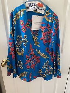 Etro Blue Silk Long Sleeve Blouse Stunning $600 Great Summer Piece