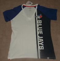 NWT Women's Majestic Vertical Toronto Blue Jays  V-Neck T-Shirt Sz L