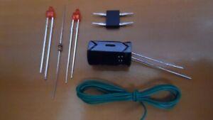 lot ho - 2 kit ECLAIRAGE FIN DE CONVOI led 2mm canon court  - train électrique
