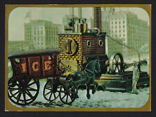 1969 Hallmark old Ice delivery Wagon mechanical Toys continental postcard